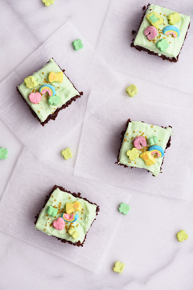 Lucky Charm Black Bean Brownies - A fun and easy St. Patrick's Day snack or dessert!