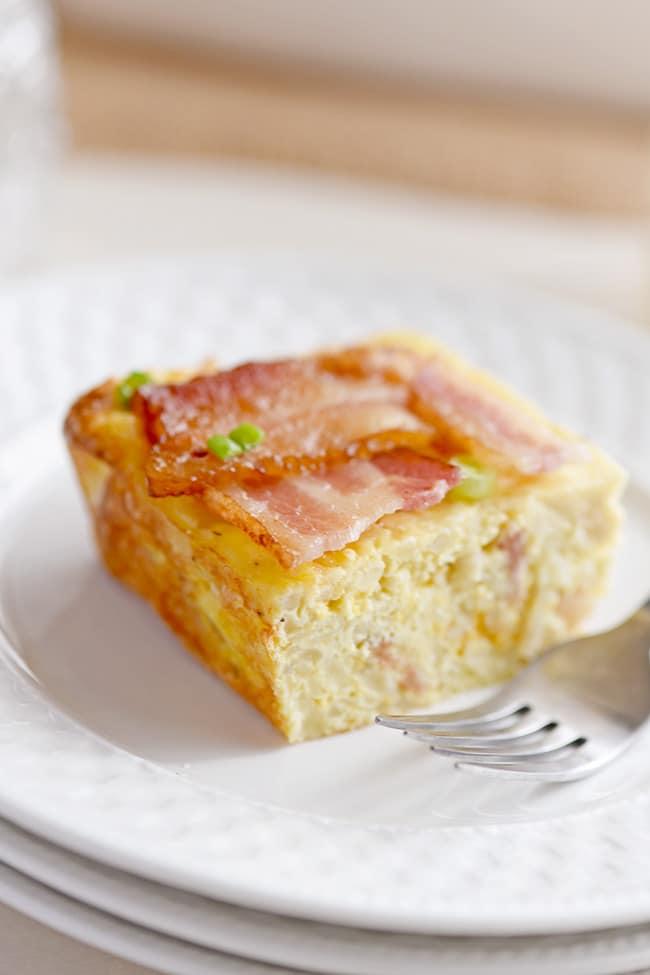 Slice bacon lattice egg casserole