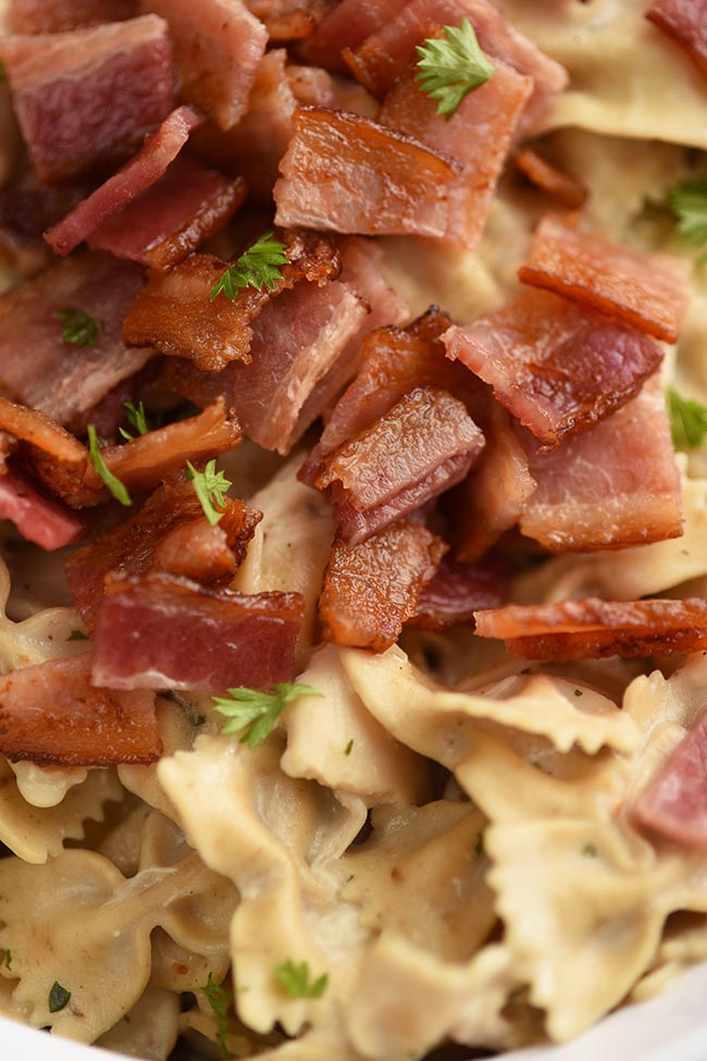Thick cut bacon topped casserole
