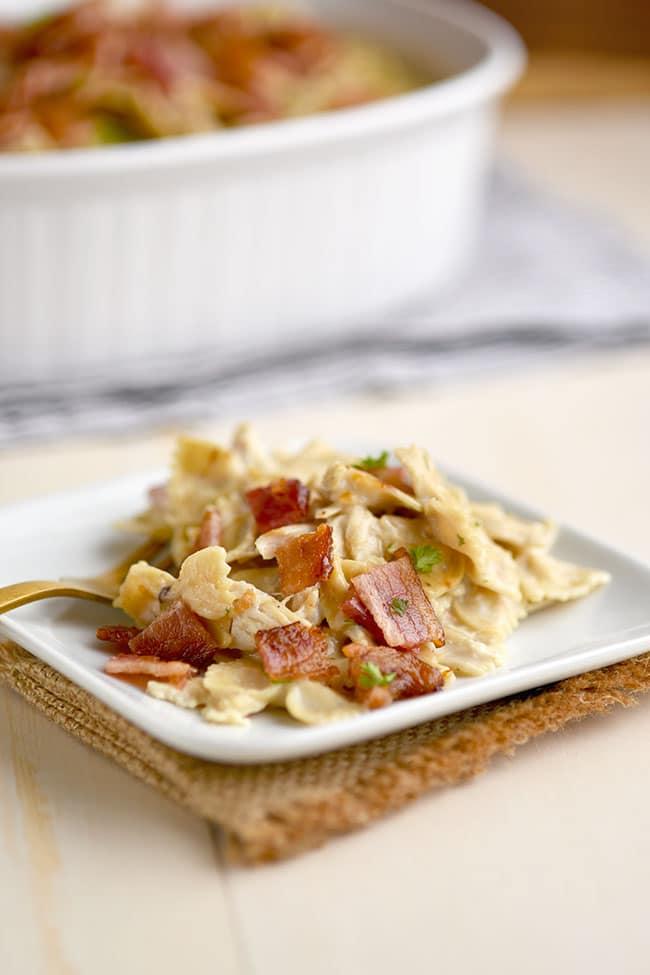Serving of Chicken Bacon Ranch Pasta
