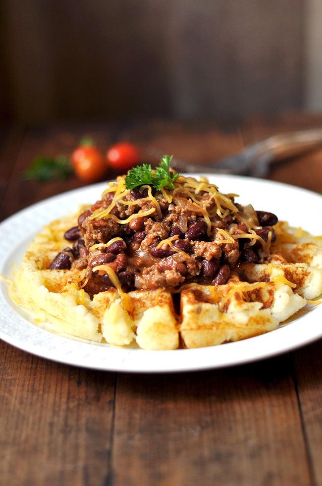 Chili-Topped Potato Waffle