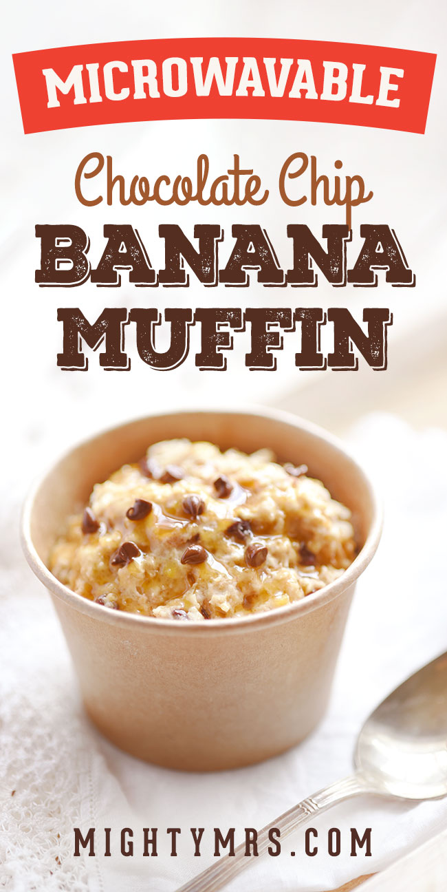 Microwavable Banana Chocolate Chip Minute Muffins