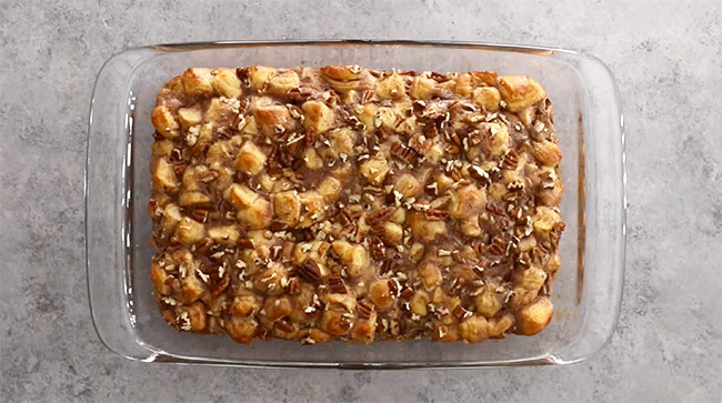 Cinnamon Roll Casserole with Pecans