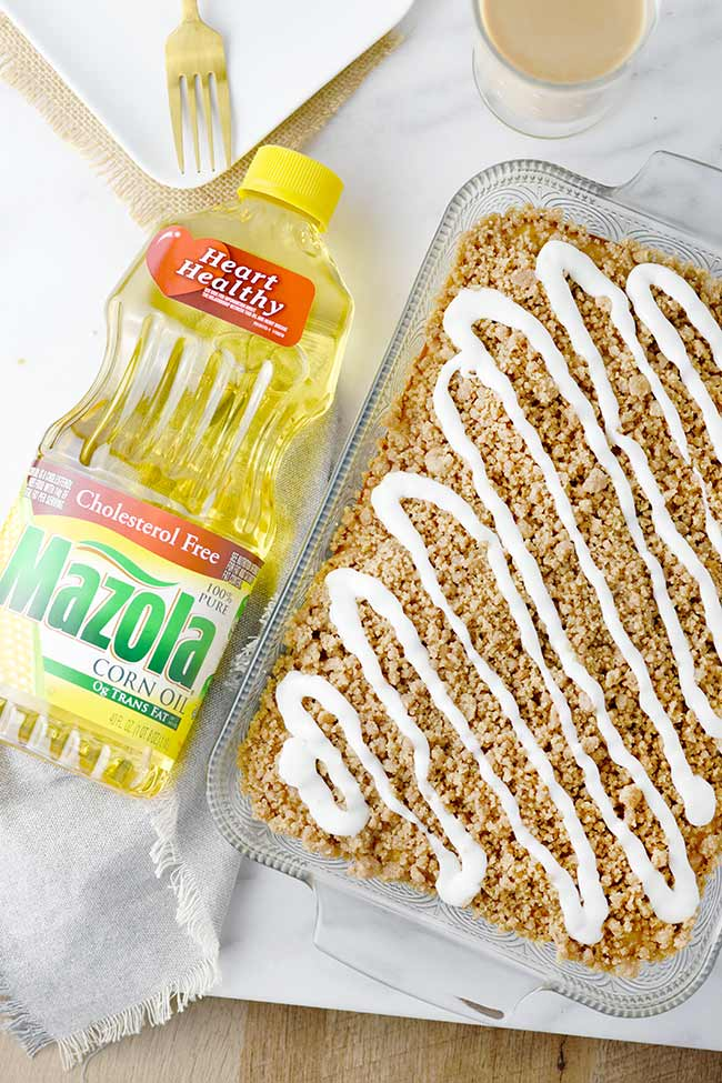 Lightened Up Coffee Cake with Perfect Crumble with Mazola corn oil