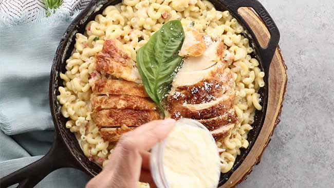 Rotisserie Chicken Tuscan Mac and Cheese