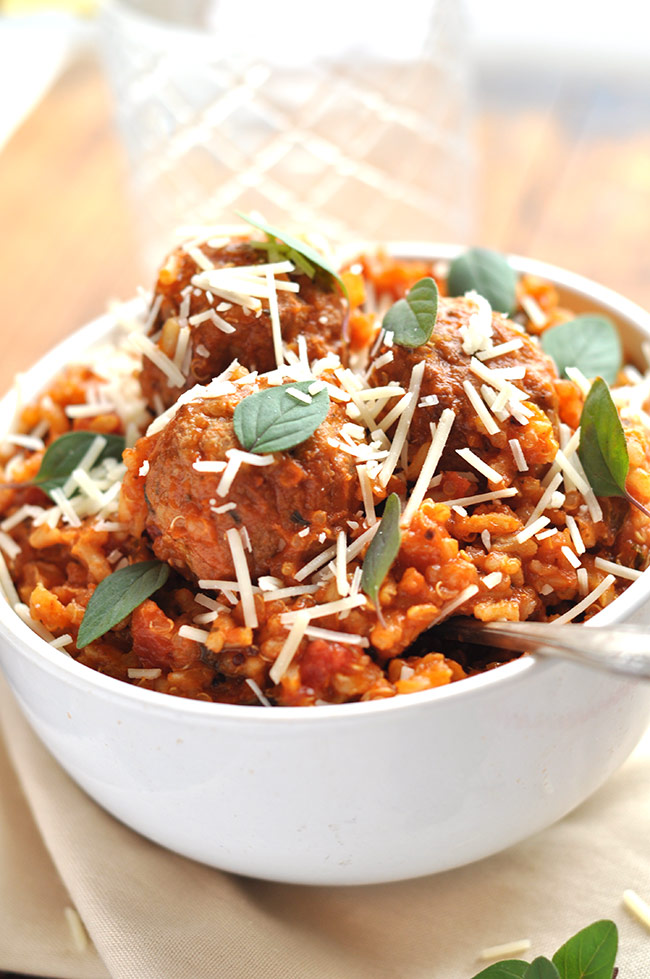 Healthy Italian Turkey Meatball Skillet with Brown Rice & Quinoa