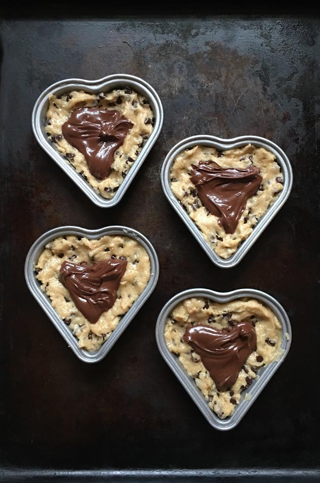 Heart-shaped Chocolate Chip Lava Cookies