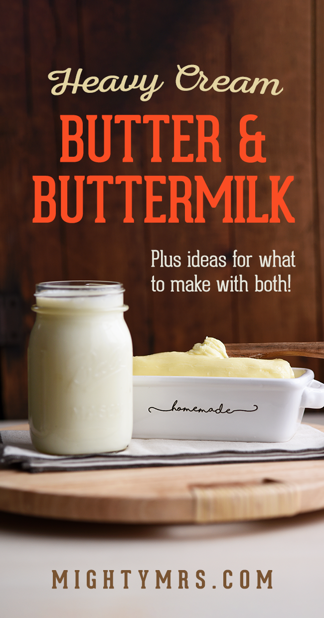 Homemade Butter and Buttermilk using Heavy Cream