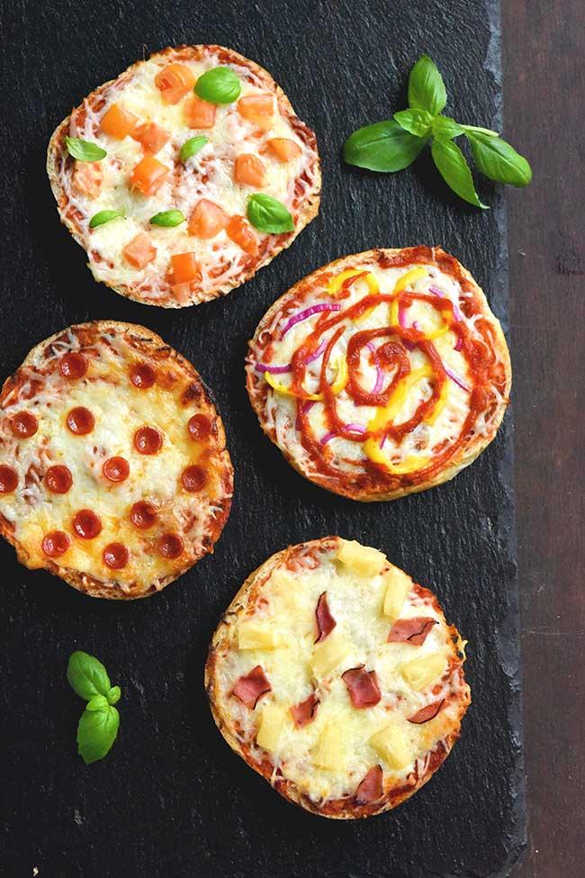 Mini Pizzas using leftover kaiser rolls