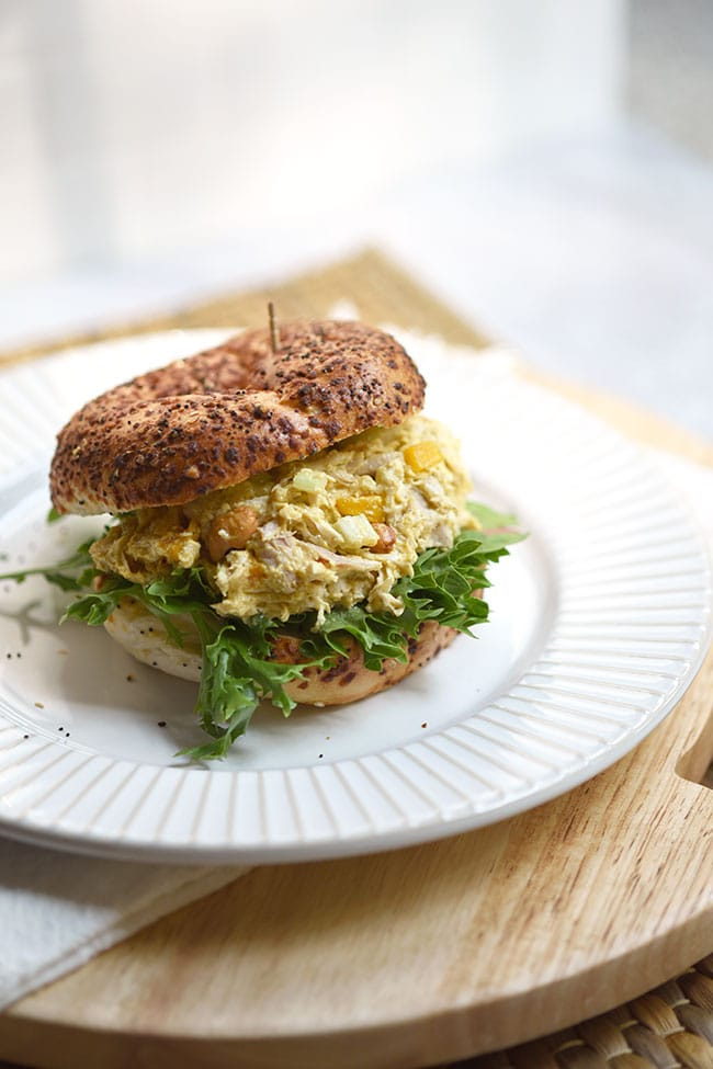 Mango Curried Chicken Salad on and Everything Bagel