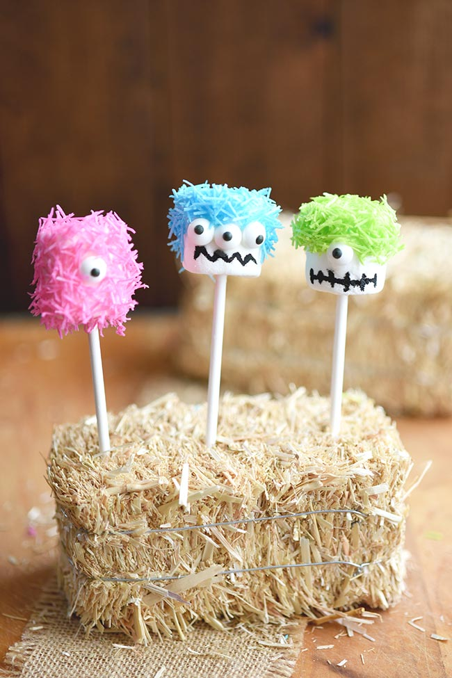Marshmallow Monster Pops - an easy, no cook Halloween party treat