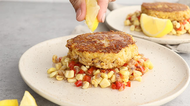 Lemon Squeeze over crab cake