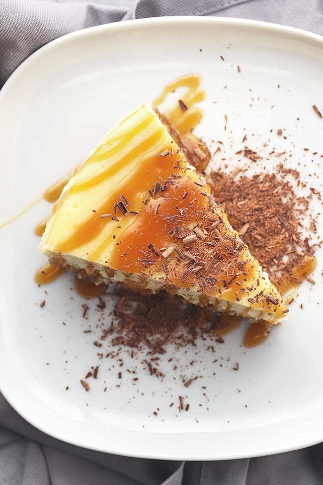 Italian Mascarpone Ricotta Cheesecake with Caramel and Shaved Chocolate