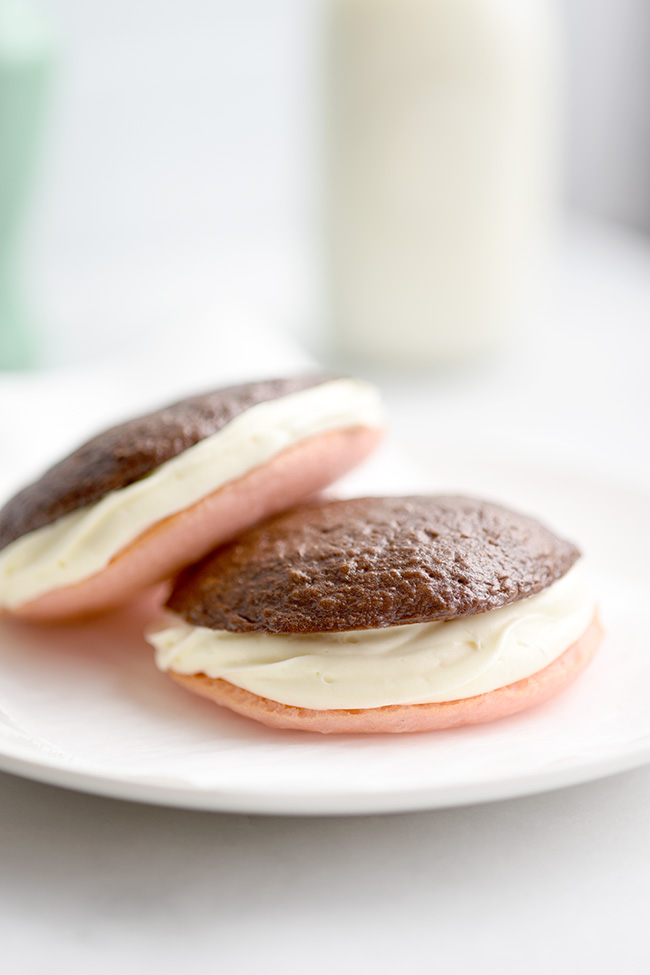 Neapolitan Whoopie Pies - using cake mix