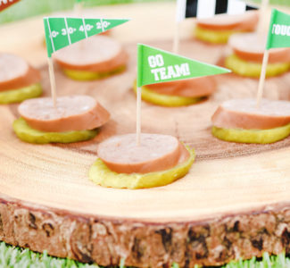 Football Tailgate Appetizer - Keto Kielbasa Pickle Stacks