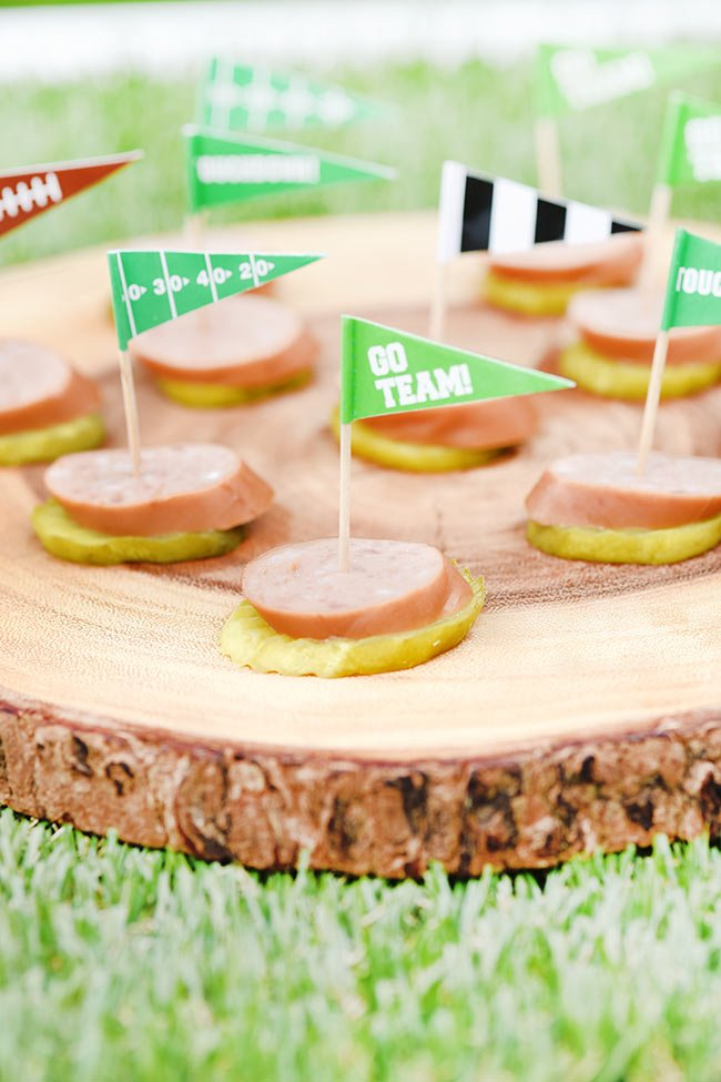Football Tailgate Appetizer - Keto Kielbasa Pickle Stacks