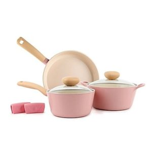 Neoflame Retro Nonstick Ceramic 5-Piece Cookware Set in Pink