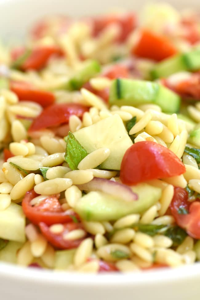 Cucumber Tomato Orzo Salad with Mint and Basil