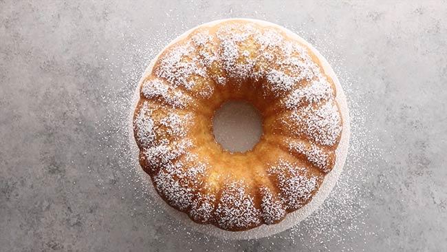 Twinkie Bundt Cake with Powdered Sugar